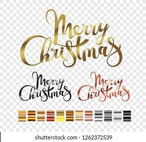 Merry Christmas metallic logo set isolated on transparent background. Xmas holiday lettering inscription. Merry Christmas script with metallic gradients set
