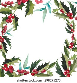 Merry Christmas mistletoe with berry frame. Watercolor traditional hand drawn greeting card. Holiday vector floral design isolated on white background.