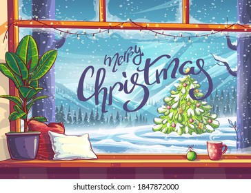 Merry Christmas - mountain view through window. For print on demand, advertisements and commercials, magazines and newspapers, book covers.