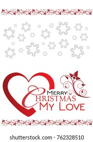 merry christmas my love greetings card and red wishes