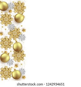 Merry Christmas New Year background design, decorative baubles and glitter snowflakes frame, vector illustration
