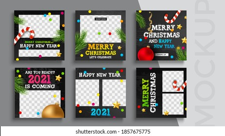 Merry Christmas and New Year banner editable template. Set of social media mobile app for shopping, sale, product promotion.
