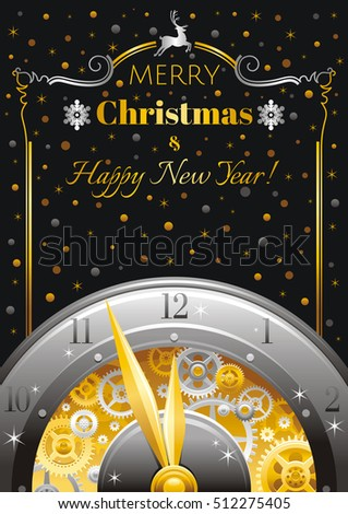 merry christmas and new year border greeting card design with clockwork cogwheel minute
