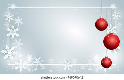 Merry Christmas and New Year card template, background. Greeting Card with cute snowflakes, decorations and frame decorated with balls. Traditional winter season holiday postcard.decorated with balls