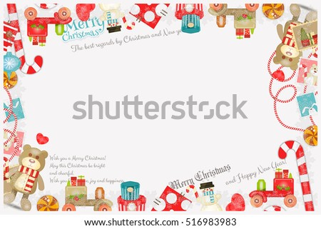 Merry Christmas New Year Card Holiday Stock Vector (Royalty Free ...