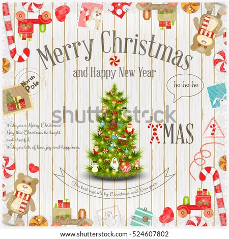 merry christmas and new year card holiday frame decorated xmas tree and holiday symbols