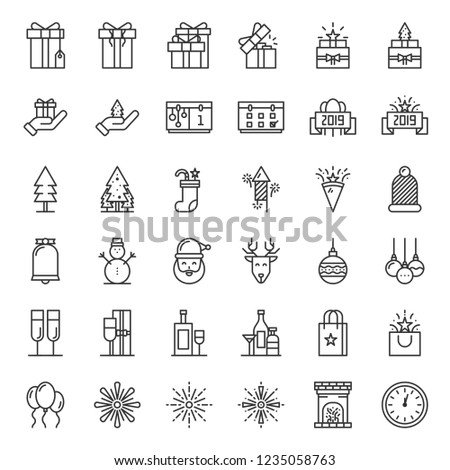 merry christmas and new year celebration thin line icon set anniversary gift pixel perfect