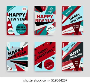 Merry christmas New Year design, eye catching banner template. Bright colorful vector illustrations for greeting card, posters, print, mobile phoned designs, ads, promotional material Yellow Pink Blue