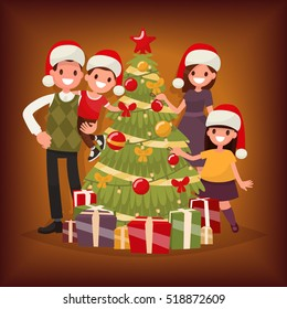 merry christmas and new year the family decorates the christmas tree vector illustration in - Merry Christmas To The Family