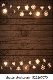 Merry Christmas and New Year Garland Ligths Design Wooden Background. Christmas Lights Vector illustration.