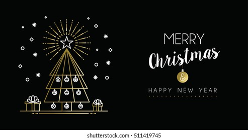 Merry christmas and new Year gold social media header in modern outline art style, pine tree illustration with holiday decoration. EPS10 vector.
