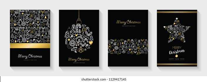 Merry Christmas and New Year greeting card collection, holiday illustrations with gold  outline icon decoration set. EPS10 vector.