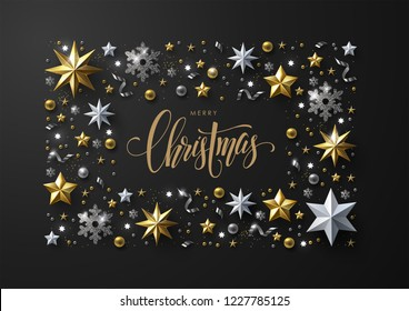 Merry Christmas and New Year greeting card with elegant frame composition made of realistic gold and white stars, silver snowflakes and glitter.