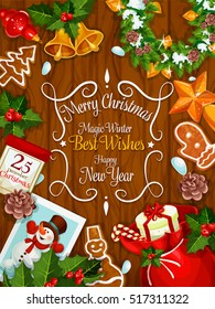 merry christmas and new year greeting card with traditional symbols of christmas celebration vector santa