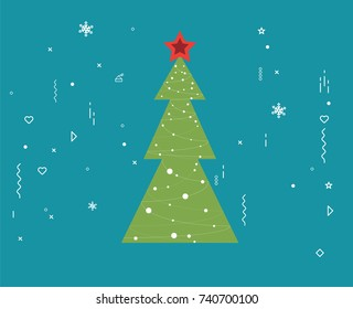 Merry Christmas and new year greeting card design, holiday line art icon ornament decoration illustration.