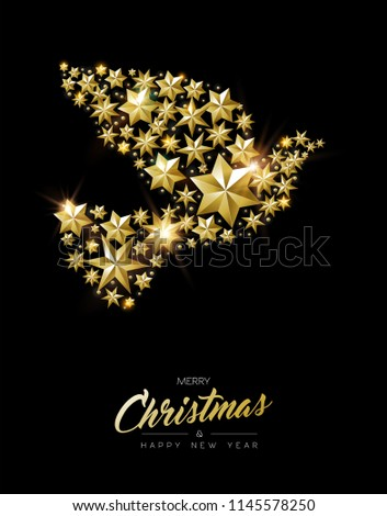 merry christmas new year greeting card with realistic gold stars and glitter making elegant peace