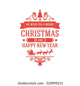 merry christmas and new year greetings classic badge with red letters and simple clean design