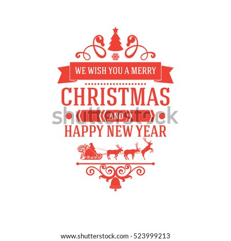 Merry Christmas New Year Greetings Classic Stock Vector Royalty