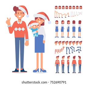 Merry Christmas and New Year. Happy family together. Front, side, back, 3/4 view animated characters. Cartoon style, flat vector illustration.
