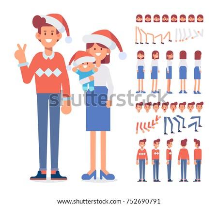 Merry Christmas New Year Happy Family Stock-Vektorgrafik (Lizenzfrei ...