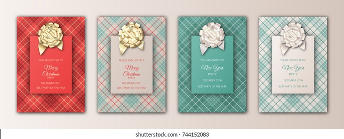 Merry Christmas and New Year invitation card design. Templates for holidays season flyers, banners, posters, cards. Christmas background with plaid texture, foil decoration elements and lettering.