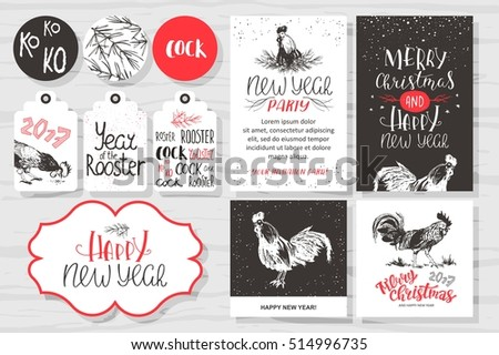 merry christmas and new year invitation set vector printable cards stickers and banners with