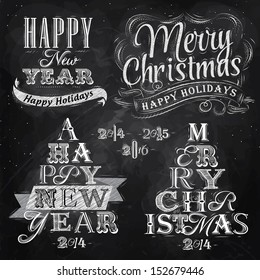 Merry christmas and new year lettering collection in retro style drawing with chalk on chalkboard background.