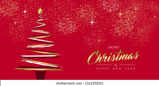Merry Christmas and New Year luxury greeting card design with gold color xmas pine tree made of grunge hand drawn brush strokes over holidays red background. EPS10 vector