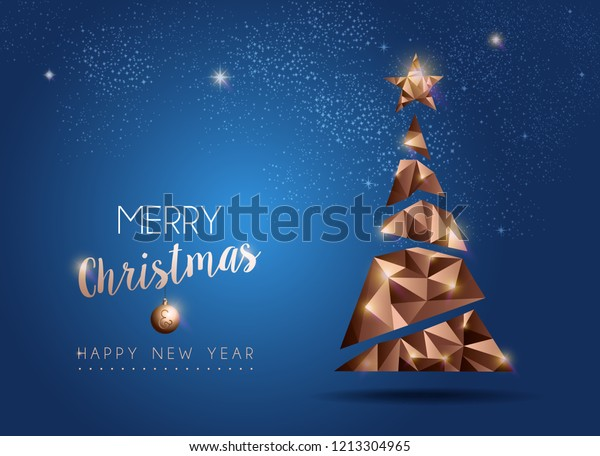 Merry Christmas and New Year luxury holiday greeting card illustration with low poly style xmas pine tree in copper color. EPS10 vector.