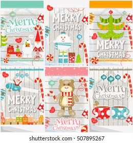 Merry Christmas - New Year Mini Posters Collection with Santa Claus, Snowman, Toys, Christmas Tree on White Wooden Background. Vector Illustration.
