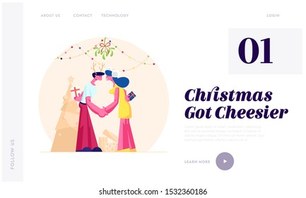 Merry Christmas and New Year Party Celebration Website Landing Page. Happy Loving Couple Kissing and Holding Hands under Mistletoe Branch with Gifts Web Page Banner. Cartoon Flat Vector Illustration