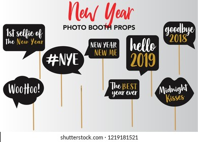 Merry Christmas and New Year Photo Booth Props, Fun Party printable speech bubble, cheers, hello 2019, goodbye 2018, woohoo, nye, the best year ever, midnight kisses signs.