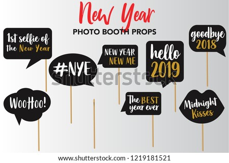 merry christmas and new year photo booth props fun party printable speech bubble cheers