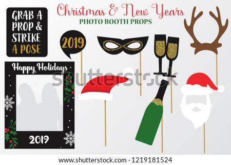 Merry Christmas New Year Photo Booth Stock Vector Royalty Free