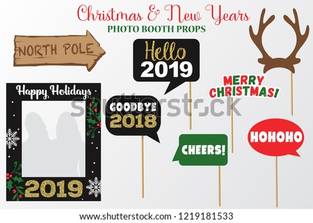 merry christmas and new year photo booth props fun party printable speech bubble deer