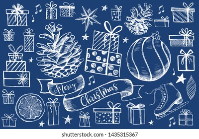 Merry Christmas and New Year set. Christmas Doodle collection. Hand drawn illustration.