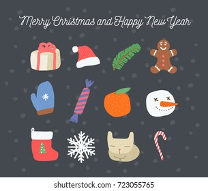 Merry christmas and new year, set of vector hand-drawn graphics