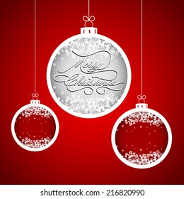 Merry Christmas and New Year with snowflake ball. Greeting card. Winter holiday background.