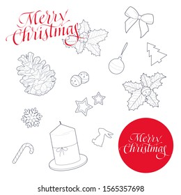 Merry Christmas and New Year sticker pack set. Hand drawn ink calligraphy. Christmas card with snowflakes, bow, bell, corn, stars, rabbit, candles, lollipop, tree, Christmas ball. Vector illustration