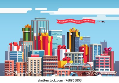 Merry Christmas & New Year themed cityscape with skyscrapers, huge gift boxes with big ribbon bows. City downtown landscape with presents and snow covered skyscrapers. Flat vector illustration.