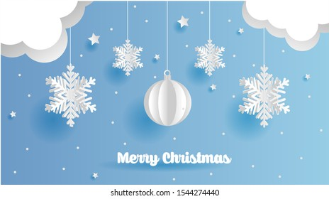 Merry Christmas and New Year typographical on holidays background with winter landscape with snowflakes, light, stars. Vector Illustration. Xmas card