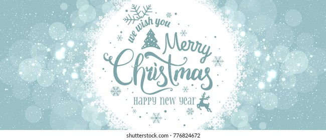 Merry Christmas and New Year typographical on background with winter landscape with snowflakes, light, stars. Xmas card. Vector Illustration
