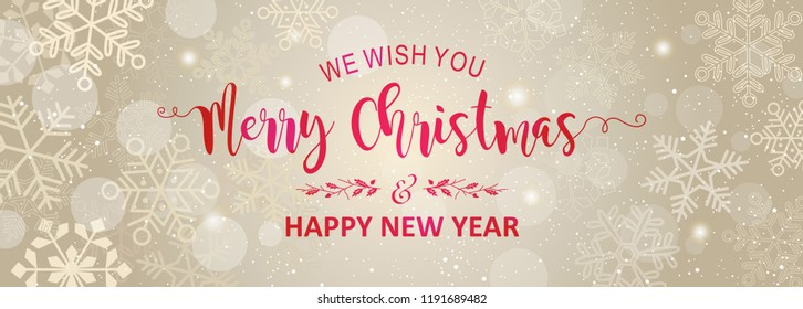 Merry Christmas and New Year typography design on shiny background.