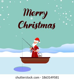 Merry Christmas and new year vector background with fisherman Santa character fishing on a frozen lake.