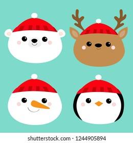 Merry Christmas. New Year. White polar bear Snowman Deer Penguin bird Raindeer round face head icon set. Cute cartoon funny kawaii baby character. Greeting card. Flat design Blue background. Vector