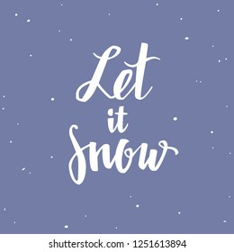 merry christmas and new year words vector hand drawn lettering let it snow romantic
