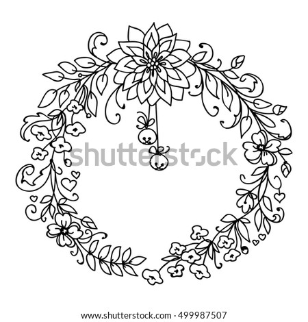 Merry Christmas New Year Wreath Branches Stock Vector Royalty Free