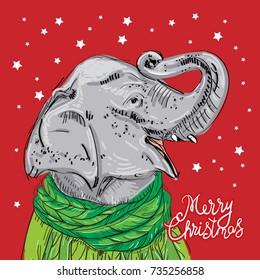 Merry Christmas New Year's card design Elephant head with a raised trunk in a knitted sweater and a green scarf.  Sketch drawing. Black contour on a red background. Vector
