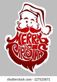 Merry Christmas - new year's label with Santa Claus