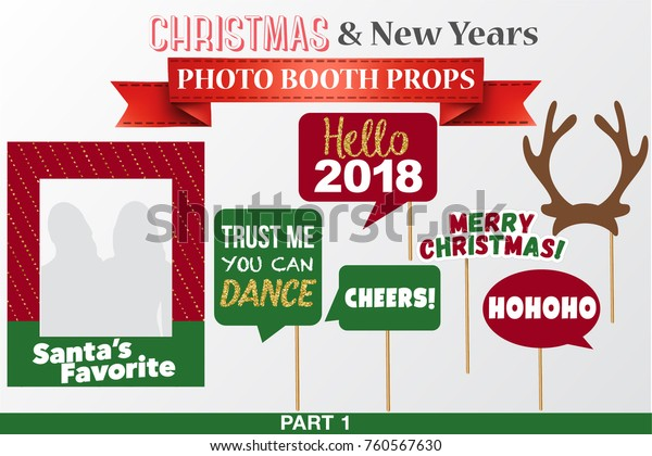 graphic regarding Christmas Photo Props Printable named Merry Xmas Clean Decades Picture Booth Inventory Vector (Royalty